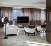Home modern theater interior with big windows Stock Photography