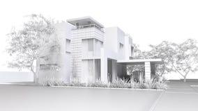 home modernt Monokrom illustration 3D av det vita plast- huset och trädgården med garaget framförande 3d Stock Illustrationer