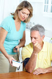 Home monitoring of blood pressure Royalty Free Stock Image