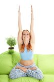 Home morning yoga exercise Stock Photo