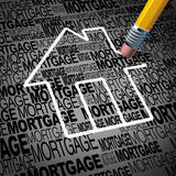 Home Mortgage Concept. And real estate house ownership success symbol as a pencil erasing the shape of a family residence as a metaphor for paying off Royalty Free Stock Photography