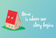 Home motivating picture with small cute house on the blue backgr Royalty Free Stock Photography