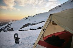 Home on a mountain. A tent set up high on Mount Rainier Stock Photo