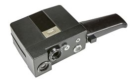 Home movie camera for the production of amateur cinema on white Stock Photo