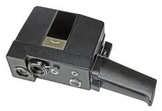 Home movie camera for the production of amateur cinema on white. Background stock photos