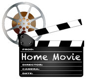 Home Movie Clapperboard and Reel Royalty Free Stock Photography