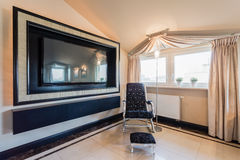 Home movie theater. Image of home movie theater in spacious exclusive lounge Royalty Free Stock Photos
