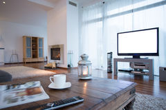 Home movie theater. Small home movie theater in big lounge Royalty Free Stock Photos