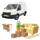 Home moving illustration. Commercial utility vehicle, cardboard boxes and home goods. Commercial utility vehicle, cardboard boxes and home goods - sofa, carpet Royalty Free Stock Image
