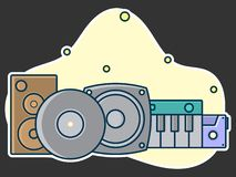 Home music and sound studio concept, proffessional work label. Line art, flat style vector, icon. Template for t-shirt, web, poster or mobile app stock illustration