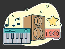 Home music and sound studio concept, proffessional work label. Line art, flat style vector, icon. Template for t-shirt, web, poster or mobile app vector illustration