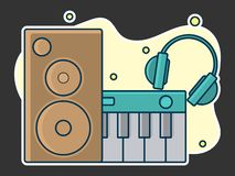 Home music and sound studio concept, proffessional work label. Line art, flat style vector, icon. Template for t-shirt, web, poster or mobile app royalty free illustration