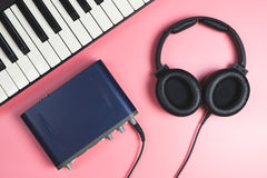 Home Music studio set up on pink Royalty Free Stock Photo