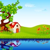 Home in Nature. Vector illustration of home under tree in nature landscape Stock Photos