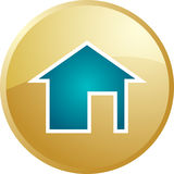 Home navigation icon. Glossy button, round shape Royalty Free Stock Image