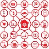 Home network delle icone di colore rosso Immagine Stock Libera da Diritti
