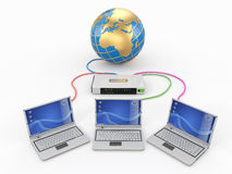 Home Network. Router and three laptops Stock Photo
