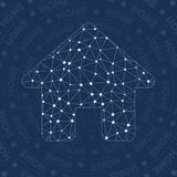 Home network symbol. Alluring constellation style symbol. Fair network style. Modern design. Home symbol for infographics or presentation Stock Image