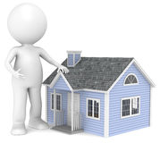 Home. New England Style. 3D little human character infront of a House. People Series Royalty Free Stock Photos