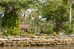 Home on New River. Luxurious home with landscaped garden on New River, Fort Lauderdale, Miami, Florida, U.S.A Stock Photo