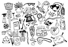Home objects collection. Royalty Free Stock Image