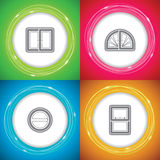 Home objects. Office Supply Objects -Double Window, Rounded Window, Rounded Window, Slide Window Stock Photo