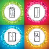 Home objects. Office Supply Objects - Glass doors, Doors, Double Doors, Emergency Doors Royalty Free Stock Photo