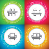 Home objects. Office Supply Objects - Table and Chair, Living room Coffee Table, Chair, Sofa Royalty Free Stock Images