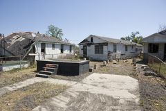 Home off foundation Ninth Ward New Orleans. After hurricane Katrina passed the city of New Orleans the levees failed flooding most of New Orleans. Hardest hit Stock Photo