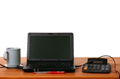 Home office 01. A computer and equipment on a table Royalty Free Stock Image