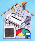 Home office. Hand made illustration: Working at home vector illustration