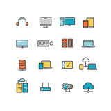 Home and office appliances. Personal electronics multimedia devices. Linear vector color icons set Royalty Free Stock Image