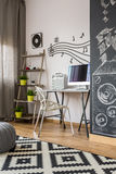 Home office with chalkboard wall idea Stock Photos