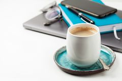 Home office coffee break stock photography