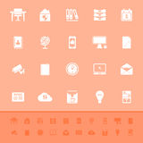 Home office color icons on orange background Stock Photography