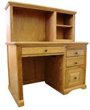 Home Office Computer Desk and. Hutch in Honey Oak Finish Royalty Free Stock Photos