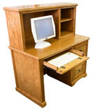 Home Office Computer Desk. And Hutch in Honey Oak Finish Stock Photography