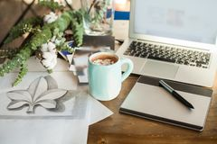 Home Office Deck with Graphic Tablet, Laptop, Drawing and Coffee. Cup. Workplace Background royalty free stock photography