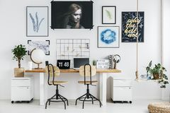 Home office design. Trendy home office designed in scandi style stock image