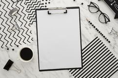 Free Home Office Desk Workspace With Blank Clipboard And Office Accessories On White Background. Abstract Diagonal Lines Stock Photos - 131329453