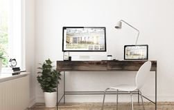 home office devices awesome responsive interior design stock photo