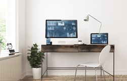 Home office devices finances. Home office devices 3d rendering finances Stock Image
