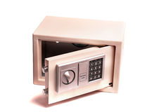 Home or office electronic safe. A small safe used for protecting valuable items in the home, hotel or office. Isolated Stock Images
