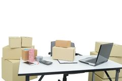 Home office equipment, computer laptop. business and online orde stock photos