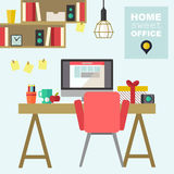 Home office flat interior illustration Royalty Free Stock Photos