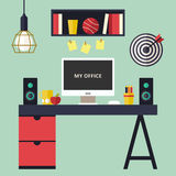 Home office flat interior vector illustration Stock Photography