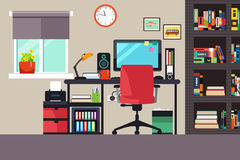 Home Office in Flat Style Stock Photography