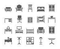 Home and office furniture interiors black icons Royalty Free Stock Photography
