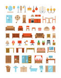 Home and office furniture interiors flat icons set Royalty Free Stock Image