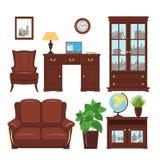 Home office furniture vector set Stock Photos